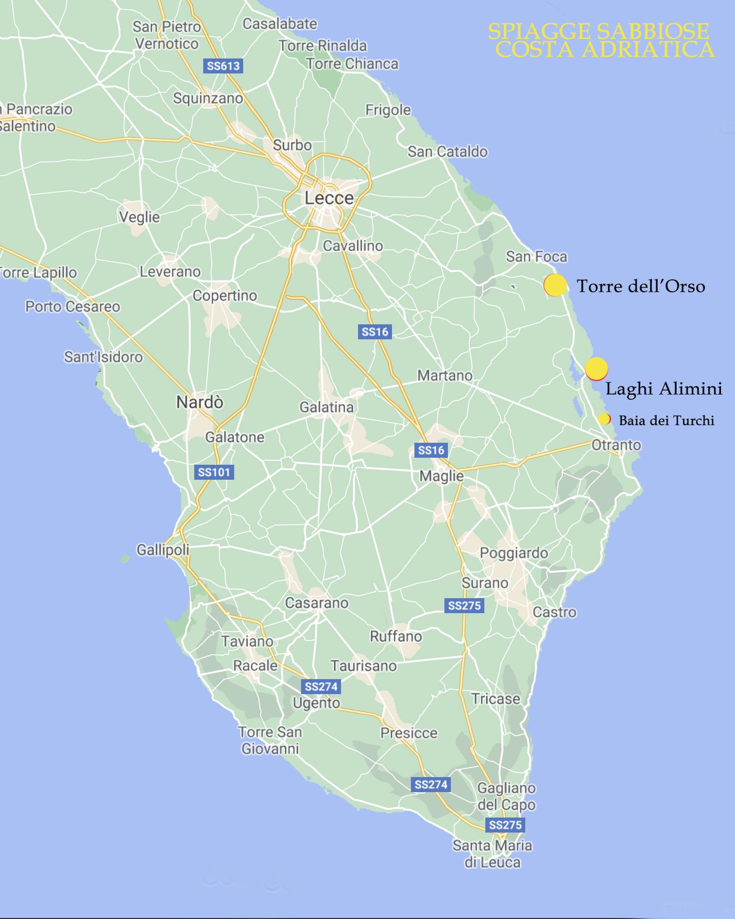 Cartina Geografica Italia Gallipoli.Cartina Salento Mappa Di Spiagge Borghi Strade Esperienze Salento